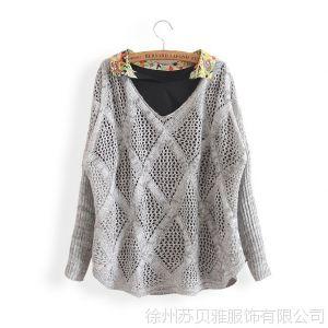 供应13秋冬装新款韩版宽松镂空蝙蝠袖针织衫套头几何毛衣打底衫女批发