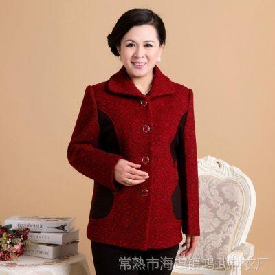 供应中老年女装毛呢外套女中国风妈妈装秋款外套中年春秋羊毛呢外套女