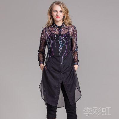 深圳女装高端 新款品牌女装 真丝印花连衣裙 领子钉珠连衣裙批发