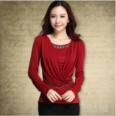 秋装韩版显瘦大码打底衫纯色修身长袖t恤女上装 2014新款