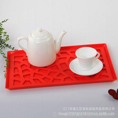 新!镂空塑料杯盘 办公室长方形欧式茶盘 沥水餐具杯子托盘水果盘