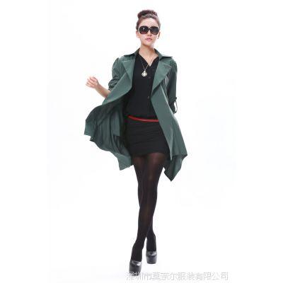 实拍春秋装新款韩版开衫中长款大码超显瘦休闲女风衣外套