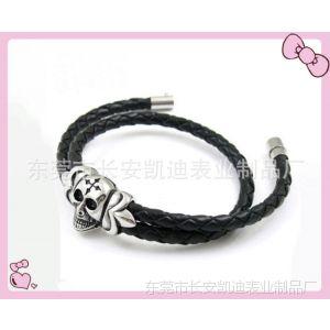供应高档PU皮革手链 欧美流行  不锈钢饰品 简约钛钢手链(KD-12034)