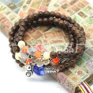 供应泰国佛牌手链 多层缠绕手饰 吉祥葫芦配件 手工串珠饰品