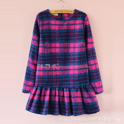 2014秋冬新款韩版女装连衣裙 圆领彩色格子修身毛呢连衣裙 批发