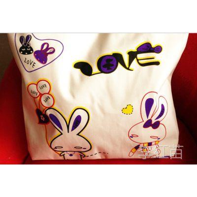 韩版批发加工定做、帆布女包时尚卡通风格包广告印刷包地摊夜市包