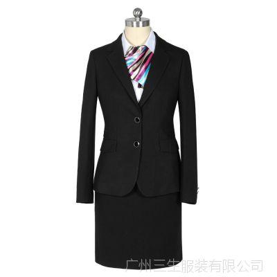 厂家定做批发女士秋冬新款黑色商务职业西服套装女高档女士职业装