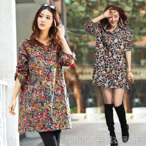 供应2014春装新款 韩版时尚花案 大码女装雪纺长袖衬衫1962