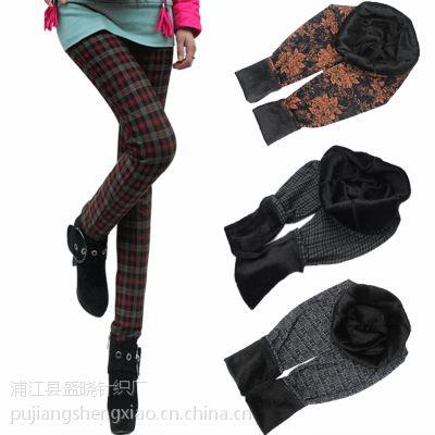 冬季女装不倒绒格子裤保暖裤 加绒加厚中老年九分打底裤