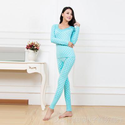 2014新款时尚修身秋衣套装 提花桃色花边领 女士秋衣套装