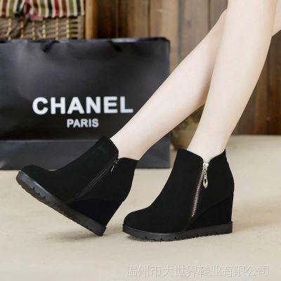 秋冬季新款马丁靴英伦风平底短靴磨砂皮休闲女靴子侧拉链坡跟女鞋