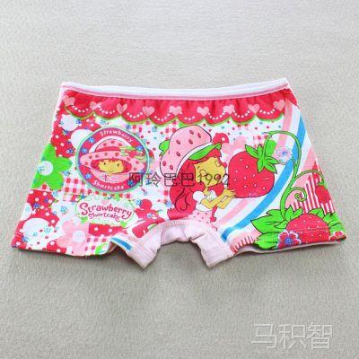迪士尼 草莓女孩 可爱女童四角纯棉平角裤配夏装裙子的儿童内裤