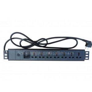 供应标准19英寸7位国标10A万用+过载+电源指示灯+船型开关(黑色)(pdu)
