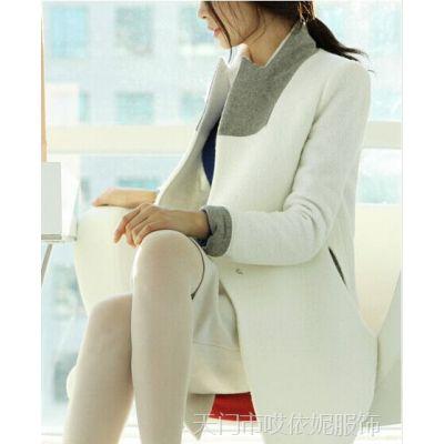 韩国代购 秋冬毛呢外套女 韩版宽松羊毛呢大衣 风衣式呢子大衣 潮