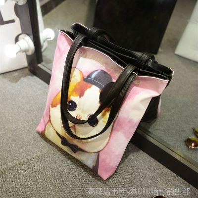 2014秋新款 韩版可爱卡通动漫喵星人眼睛帆布女包 手提包 单肩包