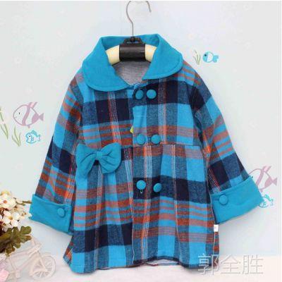 自产柔软 韩版女外套女童衬衫 儿童格子衫 童装 春秋款外套上衣