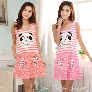 供应加大码熊猫女人睡衣夏季款pink纯棉质短袖吊带背心睡裙家居服套装