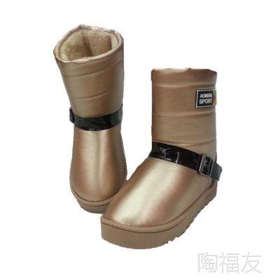 韩版中筒靴 PU皮搭扣雪地靴高帮亮皮加厚底棉鞋 百搭女靴保暖鞋