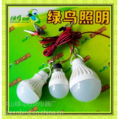 12V 太阳能专用直流LED塑料球泡 DC 12V夜市地摊专用电瓶灯 3W 5W出口球泡