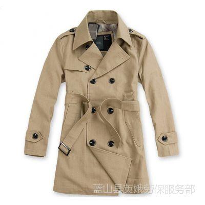 供应男爆款超棒版型韩版男装双排扣男式风衣大衣外