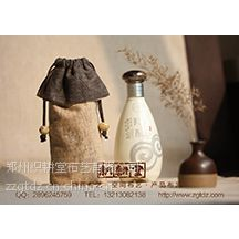 供应定制环保上海有机棉麻帆红白酒布束口拉绳购物袋