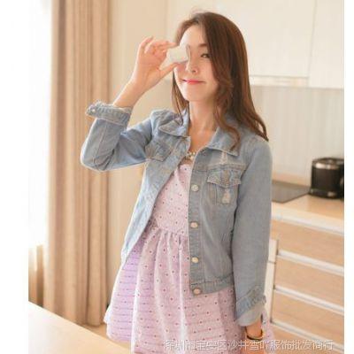 8033#牛仔外套女长袖秋装可爱翻领 牛仔衣女外套 2013新款韩版