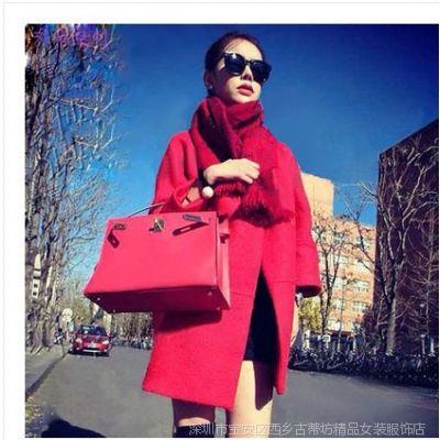 2014秋冬装新款韩版女装宽松毛呢大衣女中长款长袖呢子风衣外套女