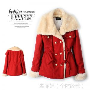 供应Q-122001 13年韩版大翻领双排扣口袋饰抽绳束腰保暖棉大衣外套女
