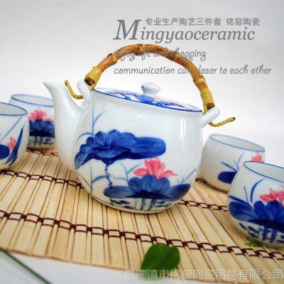 供应日式提梁大茶壶茶杯具七件套《清新荷花》手工陶瓷礼品4277#