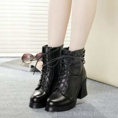 全牛皮女靴 秋冬真皮粗跟短靴系带英伦中跟女式靴子中筒靴马丁靴