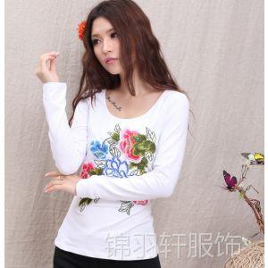 供应9284新款秋装民族风刺绣 女式长袖打底衫女装代理长袖T恤批发