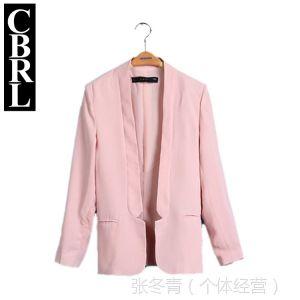供应CBRL 2014 春装新品粉红色亚麻休闲西服  时尚显瘦西装外套 现货