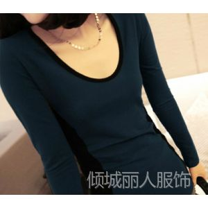 供应秋装新品女装 欧美撞色修身打底衫中长款长袖T恤0636