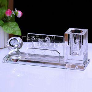 供应供应水晶笔筒三件套 水晶摆件 按需定制 浙江水晶工艺品厂家直销