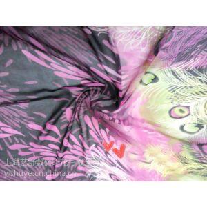 供应舞蹈服 毕业设计 动感数码印 孔雀裙孔雀舞裙 雪纺面料 服装布料 上海艺舒数码印花