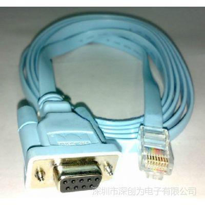 供应8芯网线水晶头RJ45转9孔COM口RS232 路由器交换机console配置线