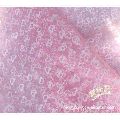 婚庆布置布料/印花水晶雪纱/1.5米门幅桃心雪纱 花束包装材料批发