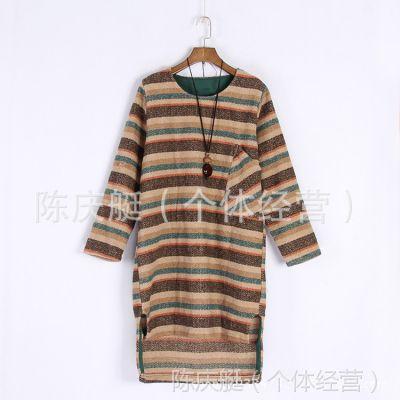 民族风女秋装条纹原创中国风女装前短后长棉麻上衣长袖长袍