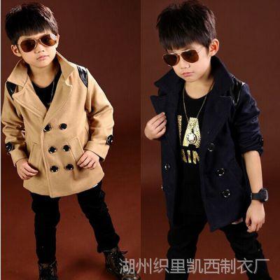 秋冬款双排扣童装 全棉儿童翻领外套 韩版儿童长袖呢子衣服
