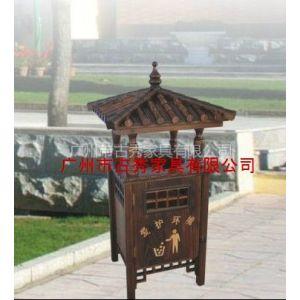 供应广州户外木制小品环保箱,碳化木垃圾箱