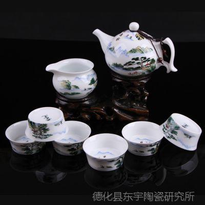 新款手绘青花茶具 功夫茶具套装  陶瓷茶具套装  LOGO加工订制