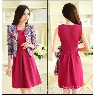 6033款2014年秋冬季女装新款 时尚正品韩版套装长袖连衣裙