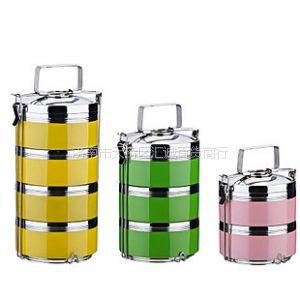 供应山东济南不锈钢彩色多层饭盒保温桶印字定做