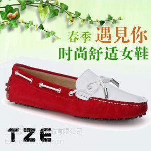 供应TZE 2014新款豆豆鞋女真皮平底平跟蝴蝶结单鞋韩版潮鞋女鞋09B