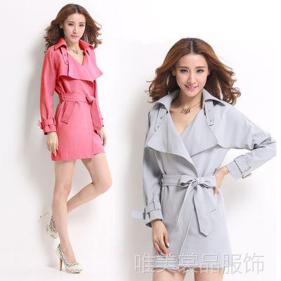2014韩版秋冬新款修身中长款女式风衣外套批发 代发 实拍