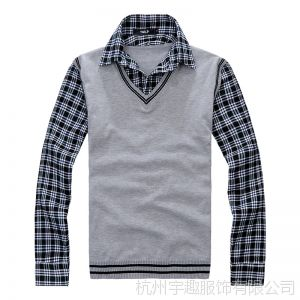 供应爆款2013春秋新款男装学院风假两件男式毛衣针织衫韩版修身打底衫