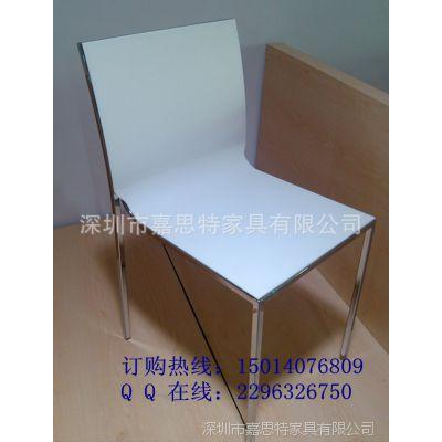 深圳嘉思特家具批发 高品质钢架塑料椅 白色塑料餐椅