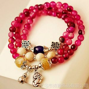 供应天然紫水晶黑玛瑙貔貅 葫芦 多层手链礼物招财辟邪旺事业