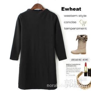供应MC042 秋冬女装新款 黑色小高领针织连衣裙 欧美中长小黑裙