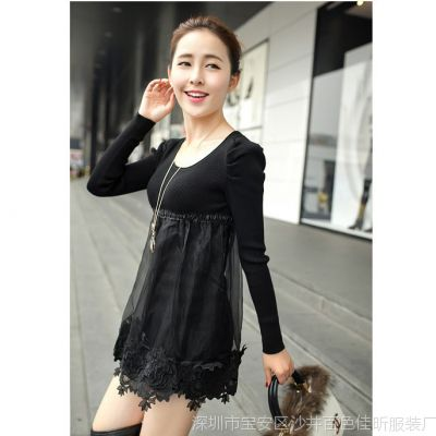新款欧根纱裙摆式打底毛衣女秋冬低领中长款针织衫修身厂家直销